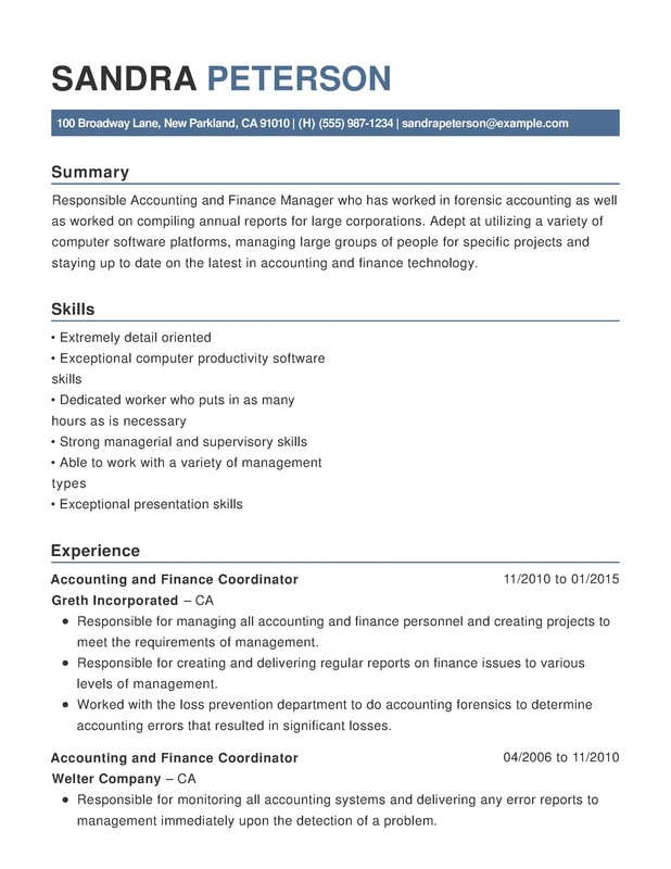 Accounting U0026 Finance Chronological Resumes  Sample Resume Accounting