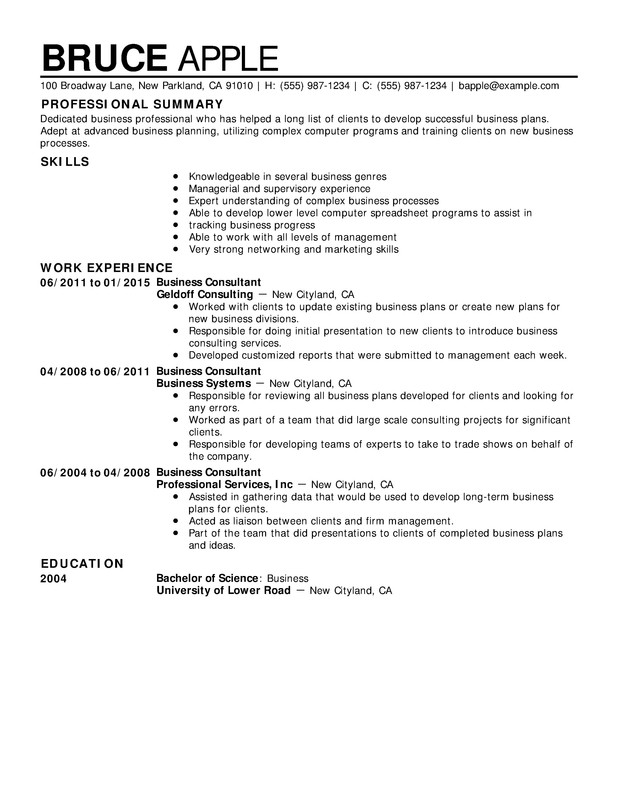 Business Chronological Resumes  Chronological Resume Sample