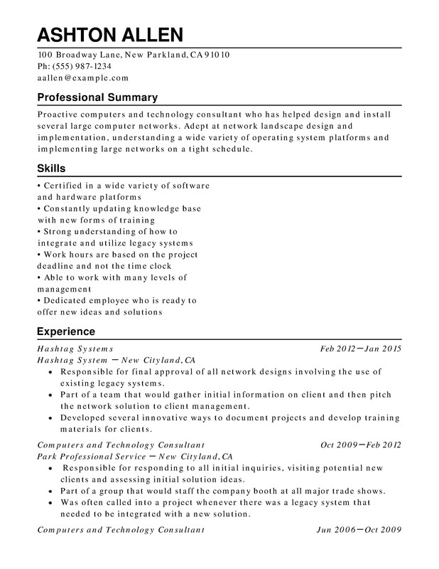 Computers Technology Chronological Resumes Resume Help