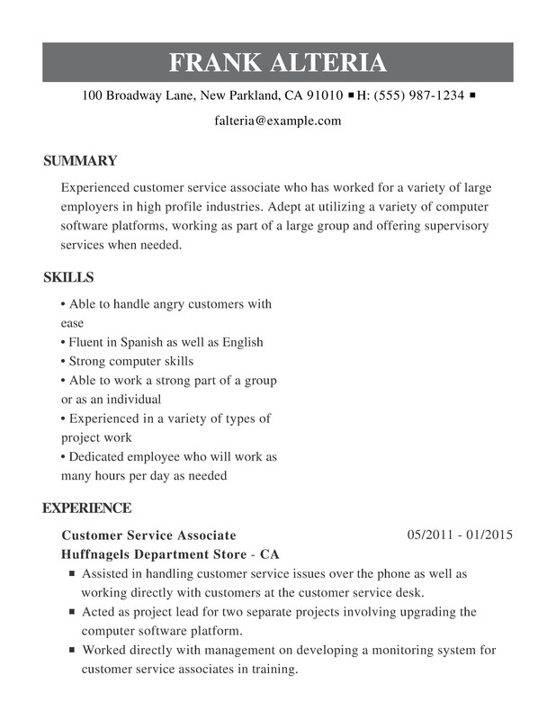 Customer Service Chronological Resume Samples, Examples ...