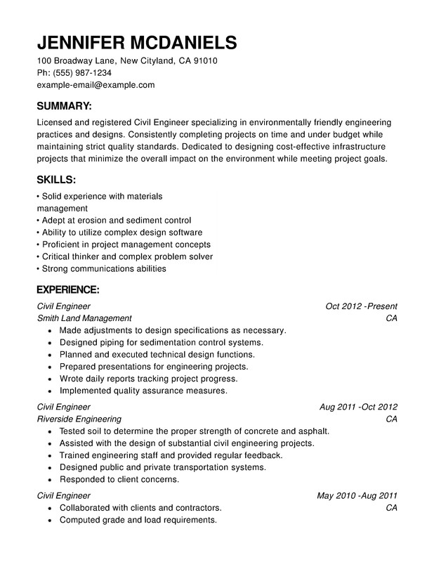 engineering chronological resumes - Chronological Format Resume