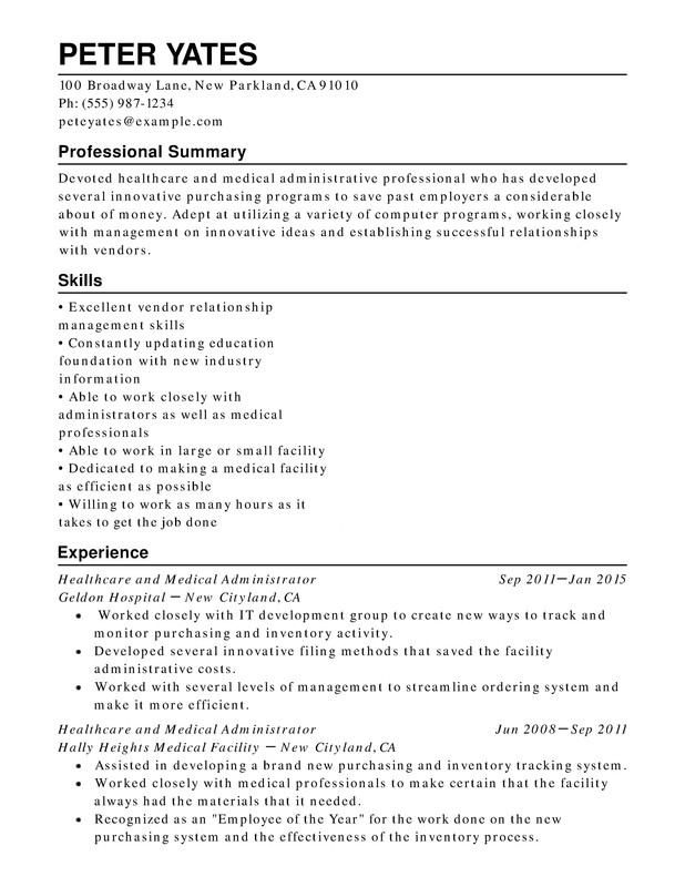 Healthcare & Medical Chronological Resumes