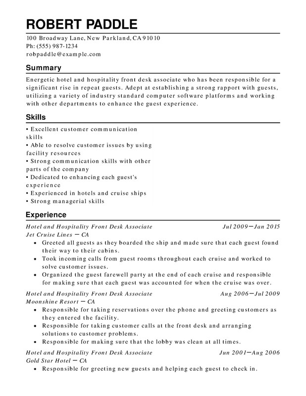 Hotel U0026 Hospitality Chronological Resumes Inside Hotel Resume