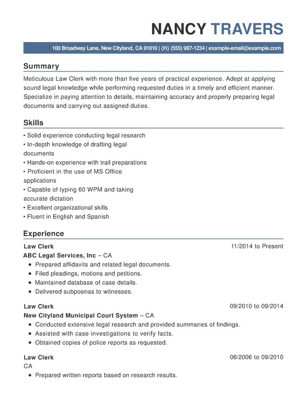 Law Chronological Resumes Resume Help - Types of legal documents