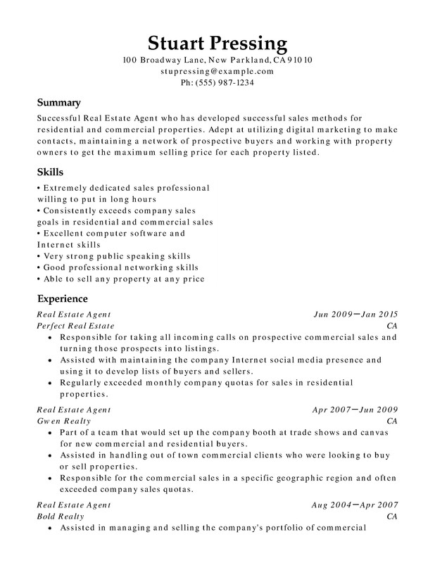 Real Estate Chronological Resumes Resume Help