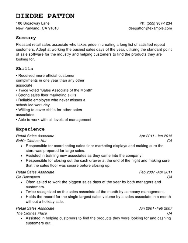 Retail Chronological Resumes Resume Help – Retail Resume