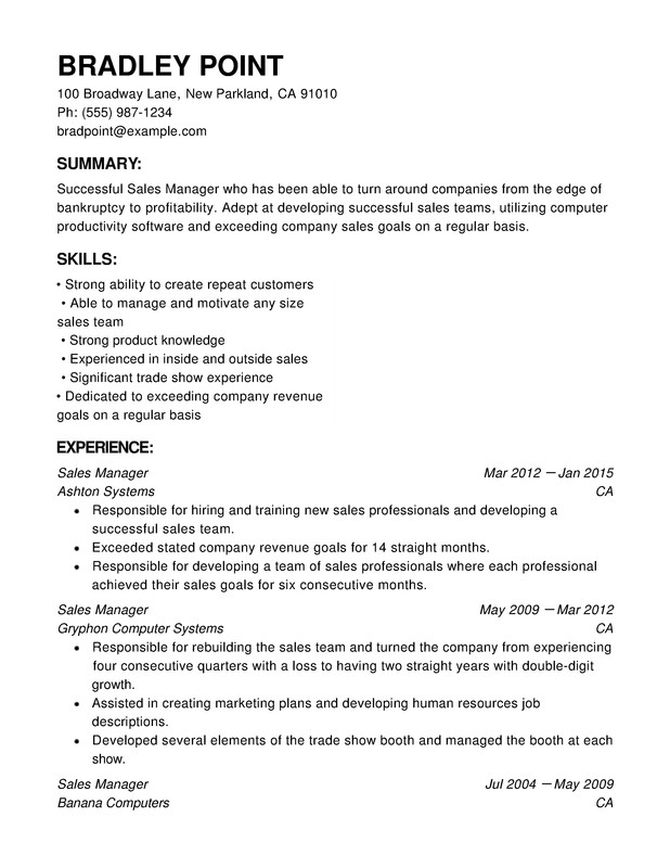 Sales Chronological Resumes Resume Help