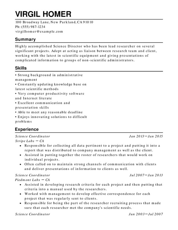 science chronological resumes resume help