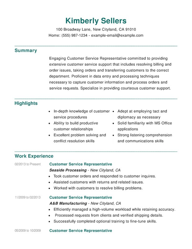 Customer Service Combination Resume