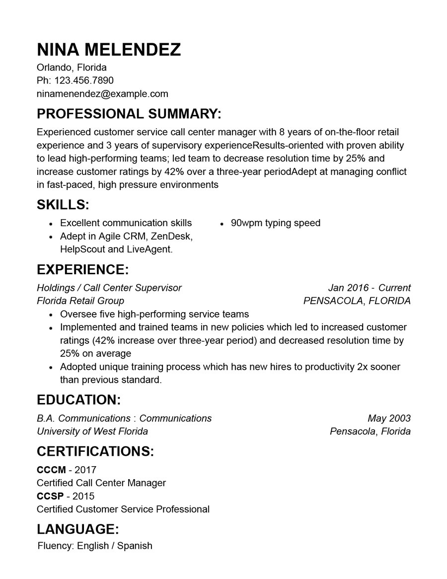 Best Customer Service Resume Templates With Examples