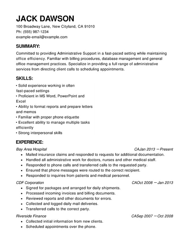 Administrative Support Functional Resumes