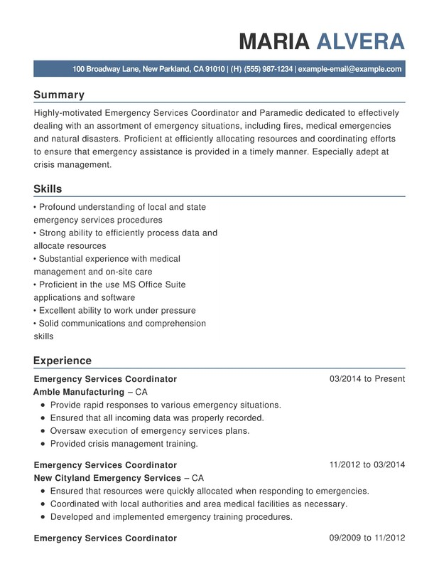 Emergency Services Functional Resumes  Resume Help