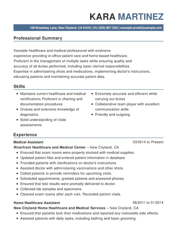 healthcare  u0026 medical functional resume samples  examples