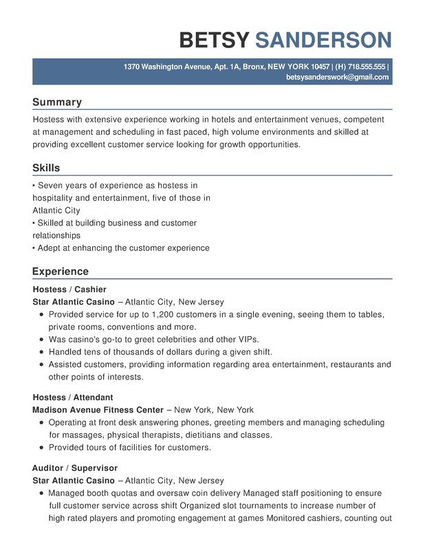 example hospitality resume best retail and restaurant associate