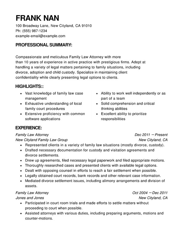 Law Functional Resumes