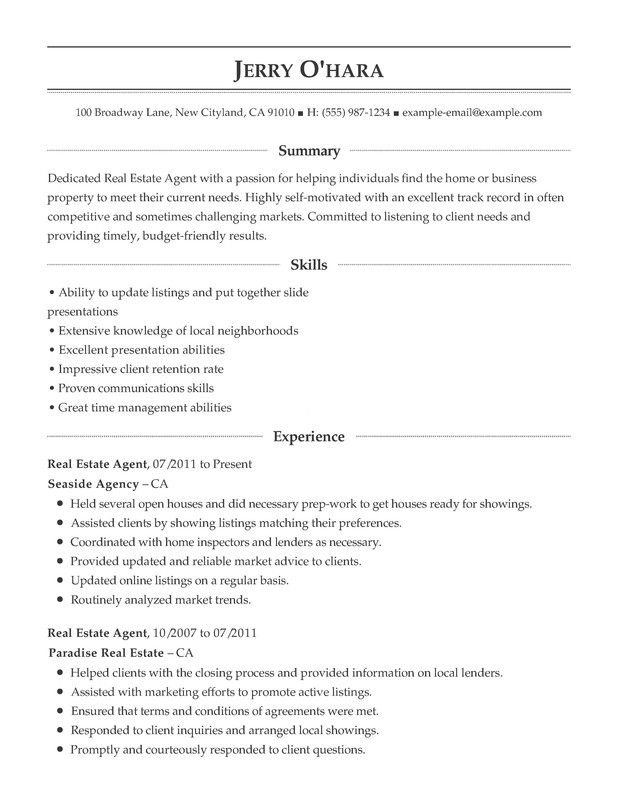 Real Estate Functional Resumes  Resume Help
