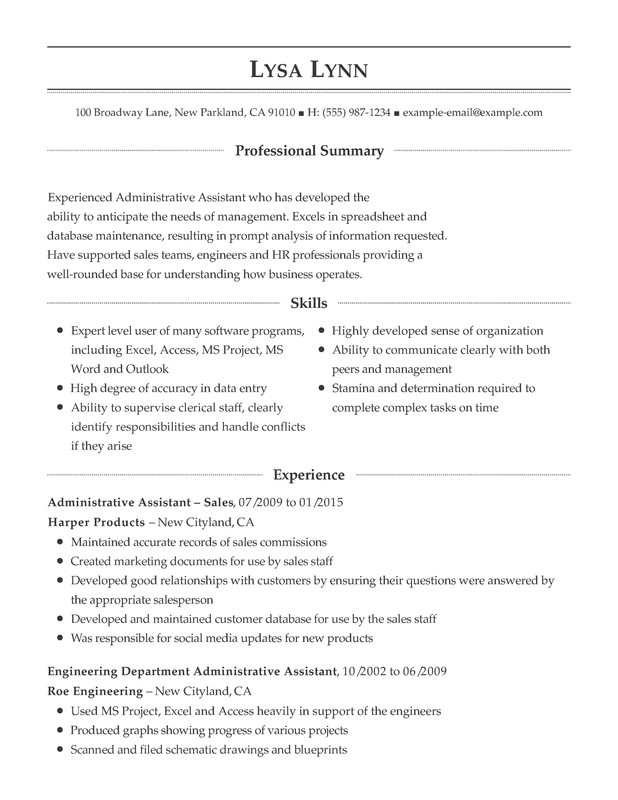 administrative support combination resume samples