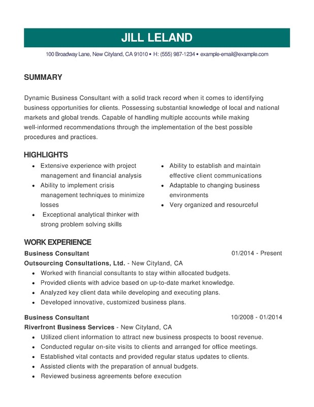 business combination resume