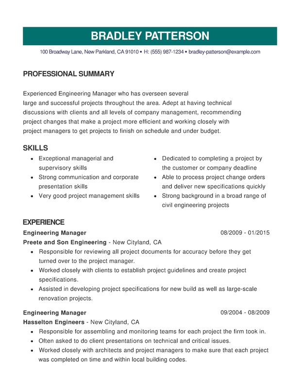engineering combination resume - Project Management Skills In Resume