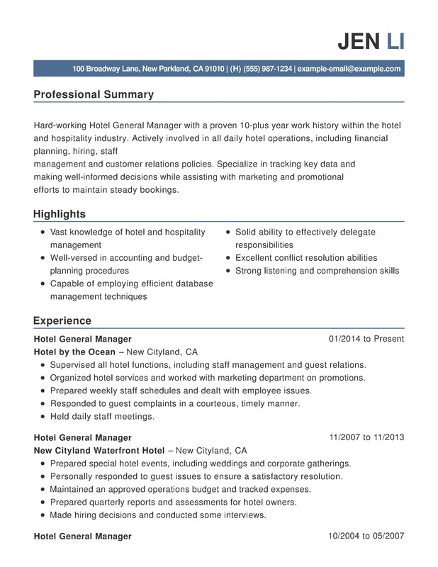 hotel  u0026 hospitality combination resume samples  examples
