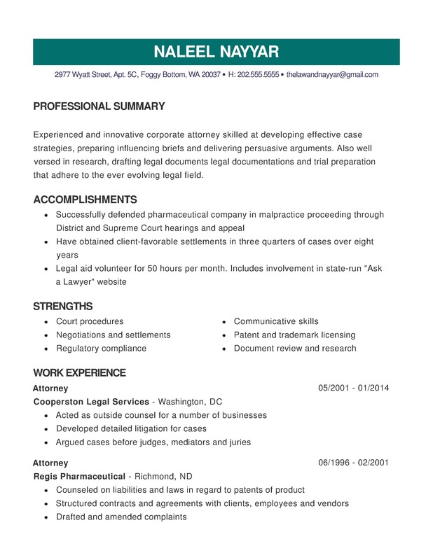 law combination resume