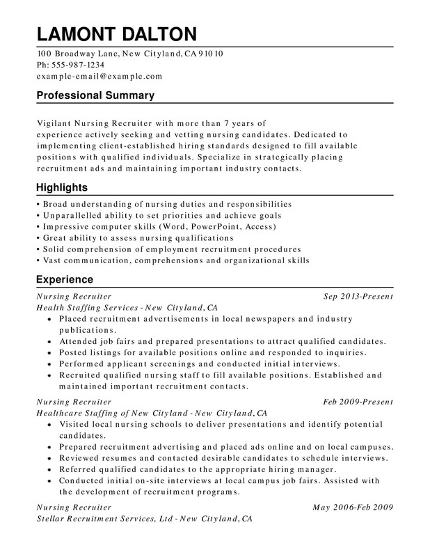nursing combination resume samples  examples  format