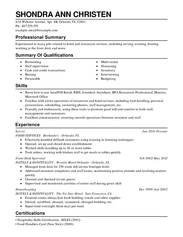 Restaurant U0026 Food Service Combination Resume  Food Service Resume Examples