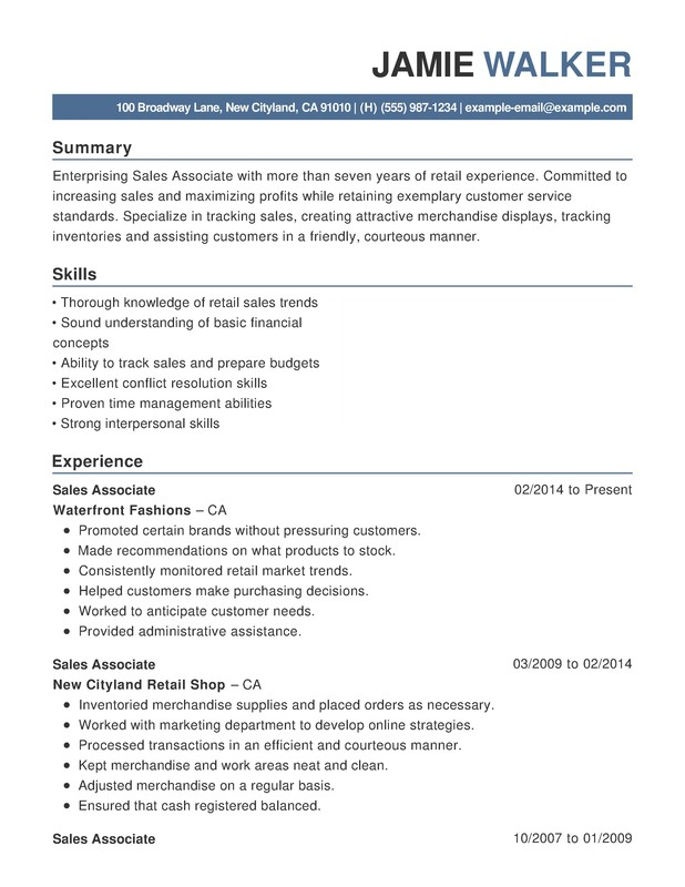 ResumeHelp  Retail Customer Service Resume