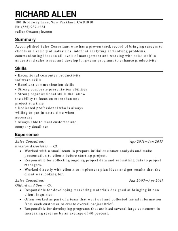 Resume Example For Retail Job  Template